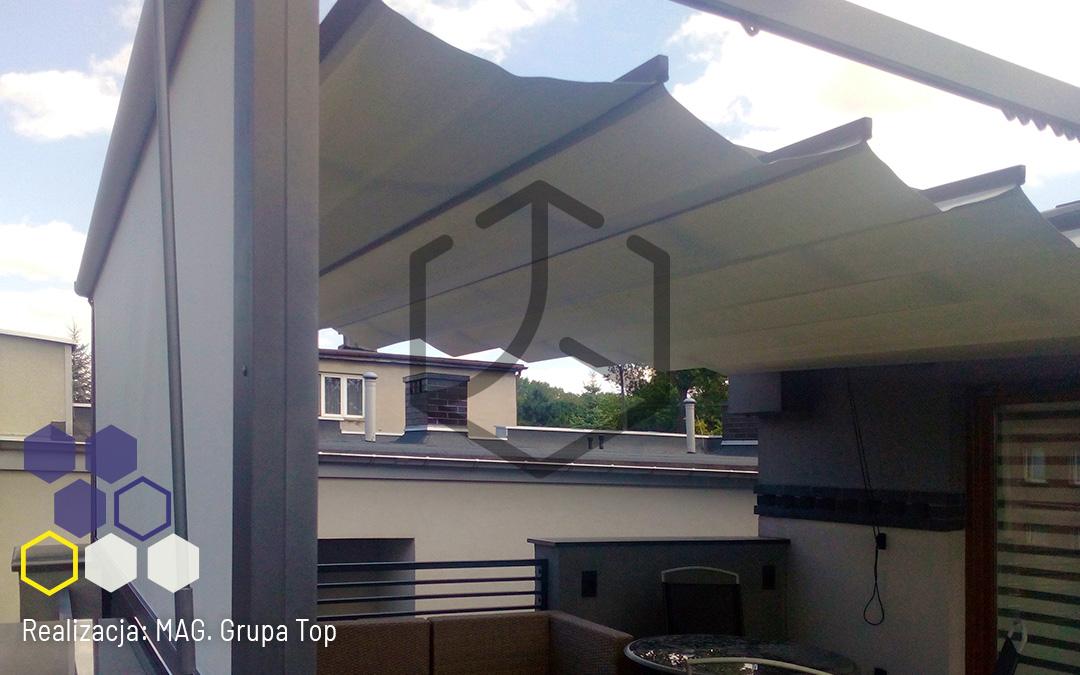 Pergola Top Light z wykorzystaniem analizy cienia – realizacja  firmy MAG Techniki Osłonowe w śląskiej kamienicy